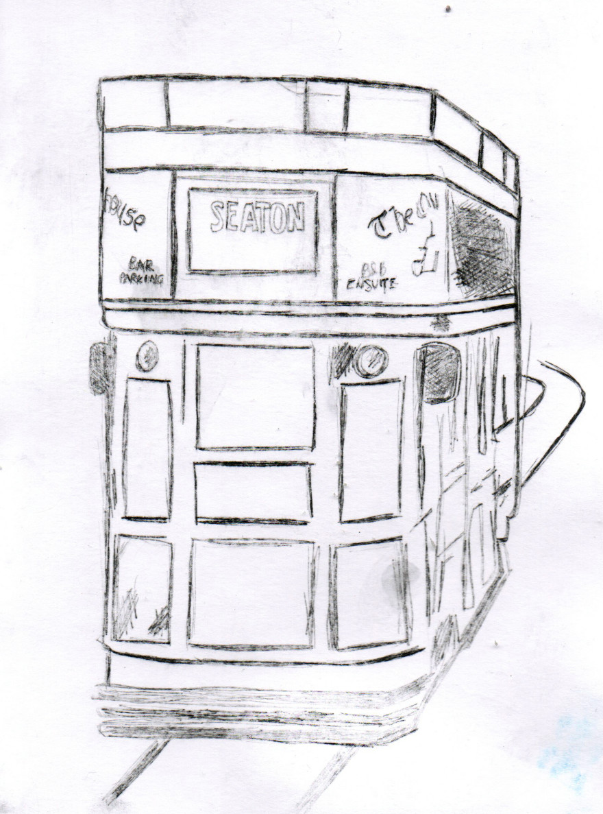 Drypoint tram bw